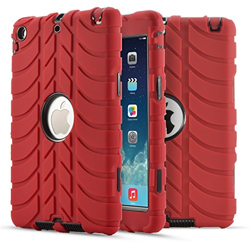 iPad Mini Case,iPad Mini 2 Case,iPad Mini 3 Case, UZER Tire Pattern Shockproof Anti-slip Silicone High Impact Resistant Hybrid Three Layer hard PC+Silicone Protective Case Cover for iPad Mini 1 2 3 ()
