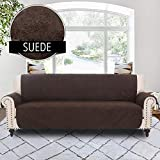 RHF Faux Suede Anti-slip Cover for Extra-Wide Couch, Sofa Cover, Extra-Wide Couch Cover for Dogs, Extra-Wide Couch Covers for Pets, Couch Slipcover, Machine Washable (Sofa-Extra Wide: Chocolate)