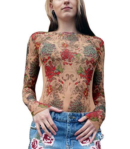 Mum Rose - Wild Rose Ladies MUMS Tattoo Mesh Shirt, Tan, X-Large