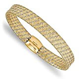 Roy Rose Jewelry Leslie's 14K Two-tone Gold Fancy Stretch Bangle Bracelet ~ Length 7.5'' inches