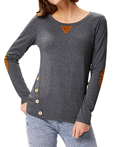 Kate Kasin Women Long Sleeve Round Neck Blouse With Bottons Soild Color Cotton Casual Tunic Tops (S Dark Grey)