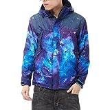 Pizoff Unisex Galaxy Universe Print Thick Fleece Lining Coat Jacket XK001-M