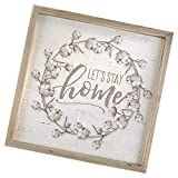 Blossom Bucket Let's Stay Home Cotton Bud Wreath Border Decorative Hanging Sign, 9.5 x 9.5 Inch Natural Wood Box