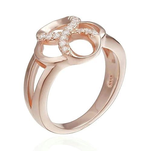 Plata de Ley daesar anillos boda bandas para mujeres Hollow número 8 oro rosa Tamaño 5