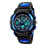 Kids Sports Digital Watch -Boys Waterproof Outdoor Analog Watch with Alarm, Multi Function Wrist Watches for Childrens-Blue