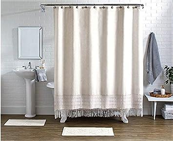 Pop Shop Crochet Shower Curtain Set Ivory