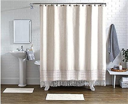 Amazon Pop Shop 15 Piece Crochet Shower Curtain Set Ivory