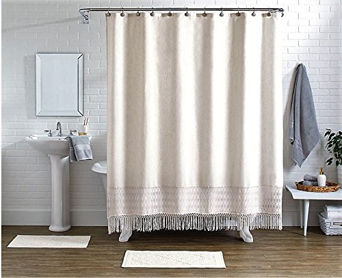 Amazoncom Pop Shop 15 Piece Crochet Shower Curtain Set Ivory