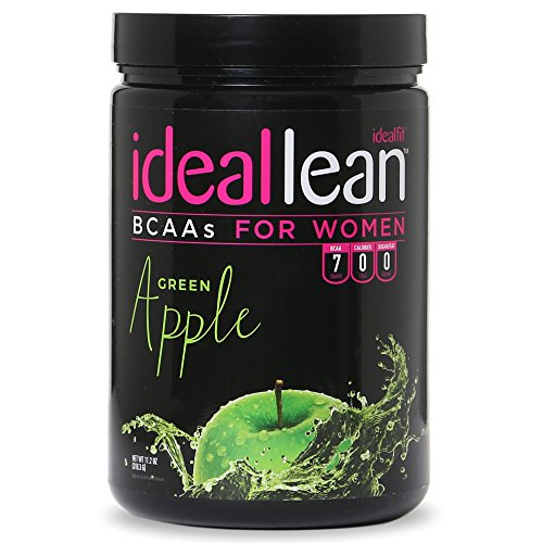 IdealLean BCAA For Women - Amino Acids for Women | Maximize Fat Burn & Lean Muscle Growth | Aids Weight Loss | Post Workout Recovery Drink | 0 Calories, 0 Sugars, 0 Carbs | Green Apple | 12 oz.