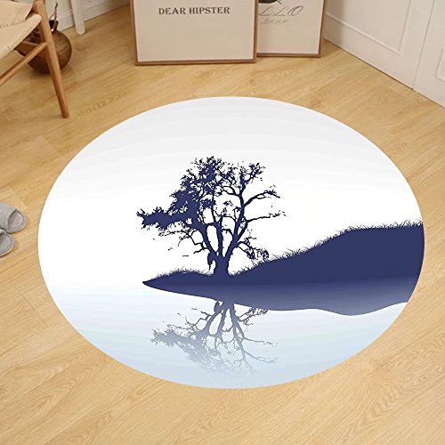 Gzhihine Custom round floor mat Nature Silhouette of Lonely Tree by Lake with Mirror Effects Melancholy Bedroom Living Room Dorm Indigo Baby Blue by Gzhihine