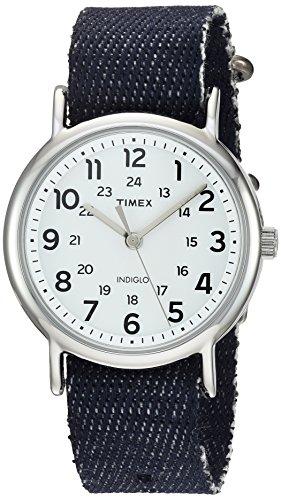 Denim Womens Watch (Timex Unisex TW2R106009J Weekender Dark Blue Denim Slip-Thru Strap Watch)