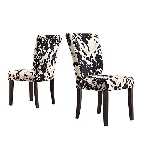 Homelegance Royal Cow Hide Fabric Parson Chairs - Espresso -