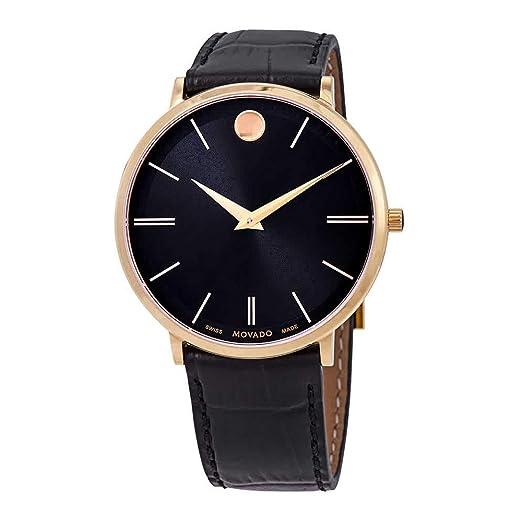 Movado Ultra Slim Reloj de Hombre Cuarzo 40mm Correa de Cuero 0607173: Amazon.es: Relojes