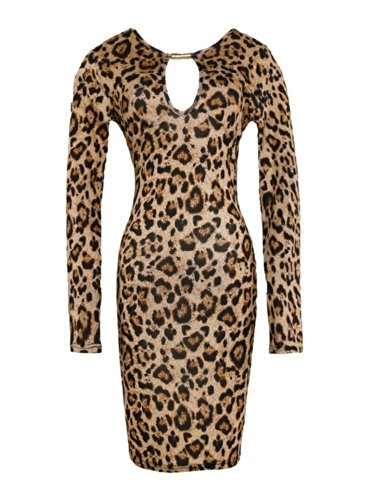 OFTEN Women Lady Keyhole with Metal Buckle Bodycon Pencil Party Dress,Leopard,X-Small