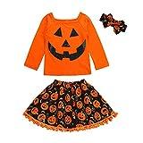 New!!! Vovotrade 3Pcs Toddler Kids Girls Halloween Outfits Set Newborn Baby Pumpkin Cartoon Print Long Sleeve Tops +Tassel Skirt +Headband Costume Outfits Set