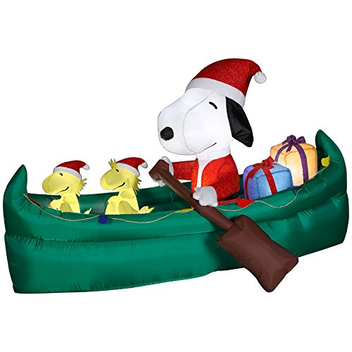Gemmy Airblown Inflatable Mixed Media Snoopy in Canoe Filled with Presents - Indoor Outdoor Holiday Decoration, 6-foot Long
