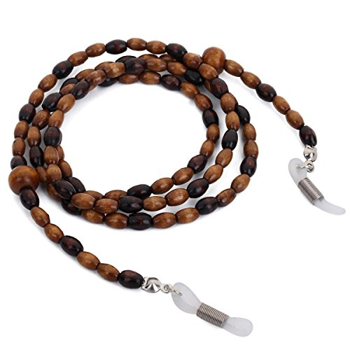 Mini Tree Wood Bead Eyeglass Chain Sunglasses Strap Reading Glasses Holder (Coffee)