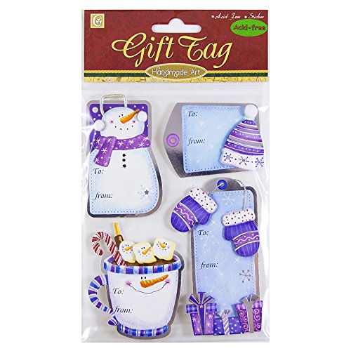 Mittens Address Labels - JAM PAPER Handmade To/From Christmas Gift Tag Stickers - Purple Hat and Gloves - 4 Labels/Pack