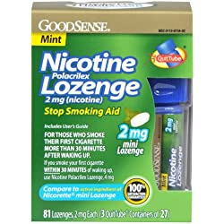 GoodSense Mini Nicotine Polacrilex Lozenge, Mint, 2mg, 81 Count