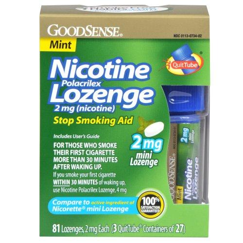 GoodSense Mini Nicotine Polacrilex Lozenge, Mint, 2mg, 81 Count by Good Sense