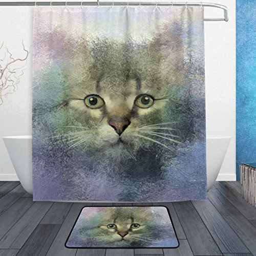 BAIHUISHOP Abstract Portrait Of Cat Oil Painting 3-Piece Bathroom Set, Machine Washable for Everyday Use,Includes 60x72 Inch Waterproof Shower Curtain, 12 Shower Hooks and 1 Non-slip Bathroom Rug Ca