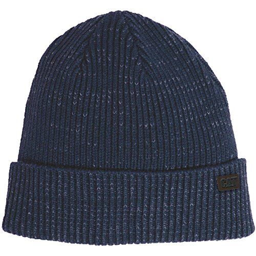 Mens Navy Faded Caterpillar Up Standard Workwear Turn Issue Hat CAT Beanie Womens amp; BE7Rypgf