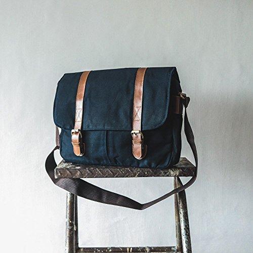 9f015fcf415f Handmade Waxed Canvas Laptop Messenger Bag