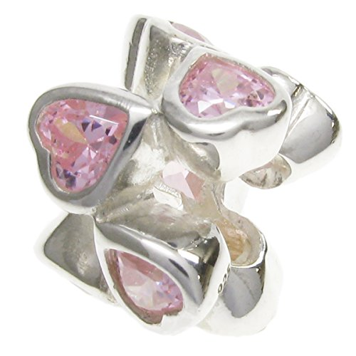 925 Sterling Silver Pink Cz Crystal Eternal Love Forever Heart Bead For European Charm Bracelets