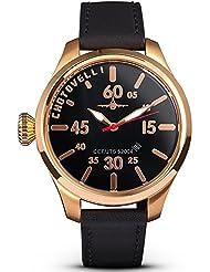 Chotovelli Luxury Pilot Mens Watch Aviation Dial Italian Black leather Strap 52.04