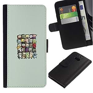 All Phone Most Case / Oferta Especial Cáscara Funda de cuero Monedero Cubierta de proteccion Caso / Wallet Case for HTC One M8 // Cute Wizards