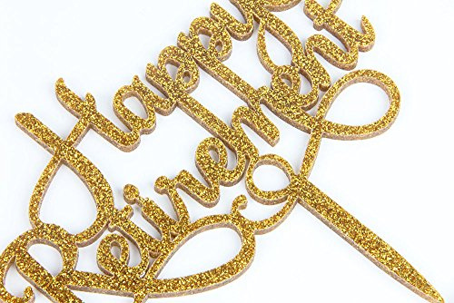 Happy Retirement Acrylic Cake Topper Party Sign Gold by waway (Image #3)