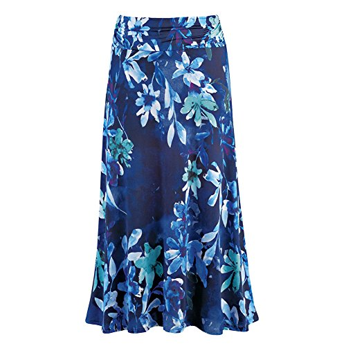 Collections Women's Dressy/Casual Floral Print Maxi Skirt with Elastic Waist, Blue Multi, Large