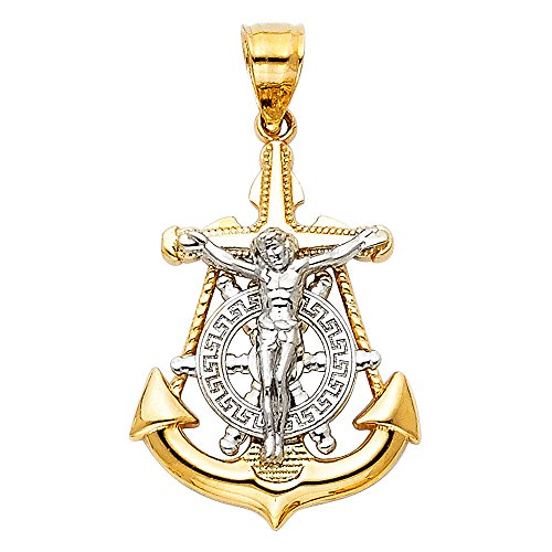 Jewels By Lux 14K White and Yellow Two Tone Gold Mariner Christian Crucifix Cross Small Pendant 26mm X 18mm