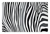 Lunarable Zebra Print Pet Mat for Food and Water, Zebra Pattern Vertical Striped Design Nature Wildlife Inspired Illustration, Rectangle Non-Slip Rubber Mat for Dogs and Cats, Grey White