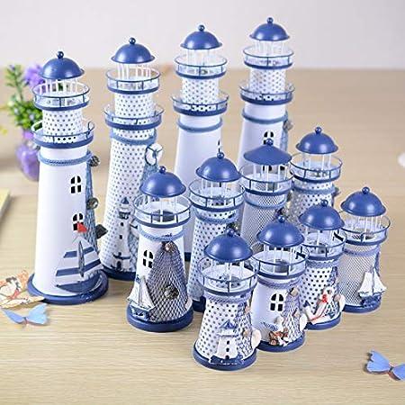 Blue S Ferro 1 Pezzo in Ferro Wonque Faro Ornamentale in Stile mediterraneo Lampeggiante 14.5 * 6.5cm Decorazione per Faro Marino