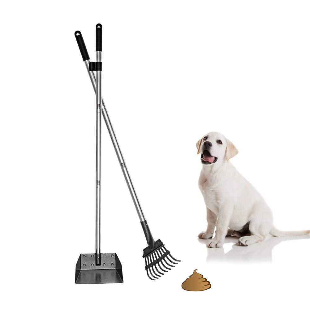 Mihachi Pet Poop Tray and Rake Set - Long Handle Pooper Scooper - 37.4'' Pet Waste Removal Bin & Rake for Dogs by Mihachi