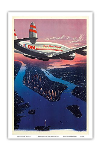 Pacifica Island Art Manhattan  New York   Trans World Airlines Twa   Vintage Airline Travel Poster By Frank Soltesz C 1950S   Master Art Print   12In X 18In