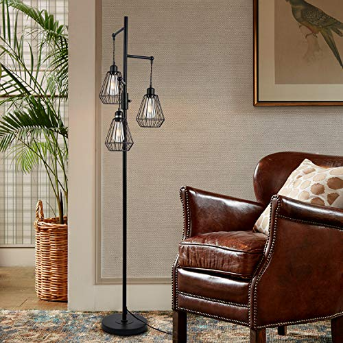 Stepeak Dimmable Cage Floor Lamp, Farmhouse Diamond Shape 3-Light Vintage Sofa Standing Lighting for Office Living Room Bedroom, 64 Inches,