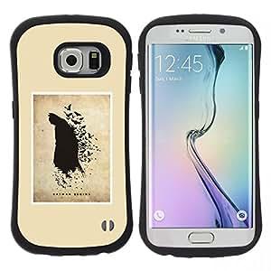 "Pulsar iFace Series Tpu silicona Carcasa Funda Case para Samsung Galaxy S6 EDGE / SM-G925(NOT FOR S6!!!) , Pintura Murciélago Negro Flying héroe del dibujo del arte"""