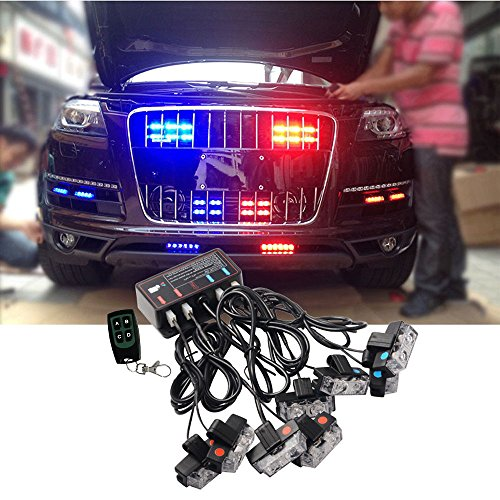 BLUE RED LED Flashing Modes Car Truck Emergency Flash Dash Vehicle Strobe Light Lamp Bars Warning Deck Dash Front Rear Grille with Remote Control (Red Light Blue Bar Strobe)