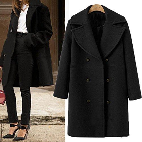 abrigo de con Cálida lana Mujer Moda Larga de Suelto Negro doble botones Internet Invierno de Chaqueta traje botón lana de Manga cuello c4gUnPxWW