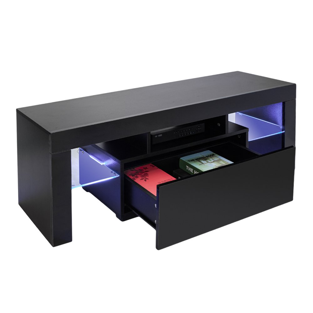 Bonnlo led tv cabinet modern tv stand console furniture with 2 glass shelves 1 drawer for up to 50 inch tv screens 51 18 l x 13 78 w x 17 72 h black