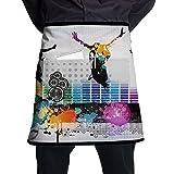 Kjiurhfyheuij Half Short Aprons Dance Music Waist Apron with Pockets Kitchen Restaurant for Women Men Server