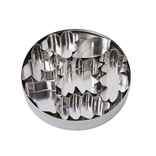 Iumer Stainless Steel 7 Piece Leaves Cutter Set Mould Mold Decorating Cutter Tool Set Biscuit Cookie Cake Jelly Fondant Stamp Impress Embosser