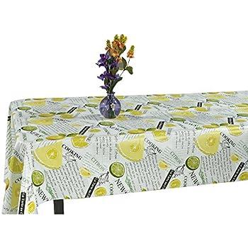 Ottomanson Lemon Lime Design Vinyl Indoor U0026 Outdoor Non Woven Backing  Kitchen Picnic Tablecloth,