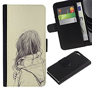 Billetera de Cuero Caso del tirón Titular de la tarjeta Carcasa Funda del zurriago para Apple Iphone 5 / 5S / Business Style sad girl