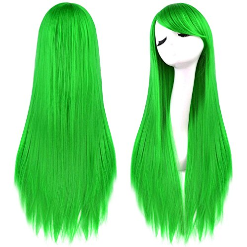 Rbenxia 32'' Women's Cosplay Wig Hair Wig Long Straight Costume Party Full Wigs Grass Green
