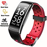 Fitness Tracker IP68 Swimming Waterproof Smart Bracelet with Sleep Monitor Heart Rate Monitor Pedometer Calorie Counter Sports Watch Call ID display Touch Screen for iPhone and Android (Black + Red)