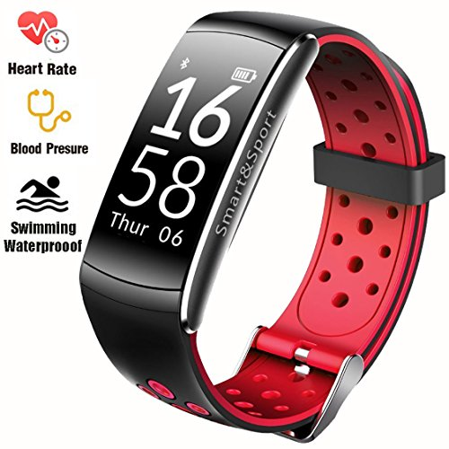 Fitness Tracker IP68 Swimming Waterproof Smart Bracelet with Sleep Monitor Heart Rate Monitor Pedometer Calorie Counter Sports Watch Call ID display Touch Screen for iPhone and Android (Black + Red) by feifuns