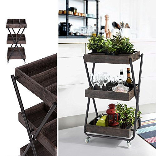Vintage Dark Brown Finish 3-Tier Metal Utility Service Rolling Handle Storage Kitchen Office Planter Cart with wheels